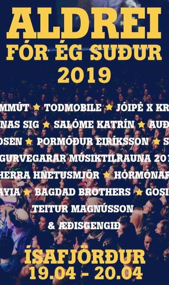Aldrei fór ég suður 2019 listi